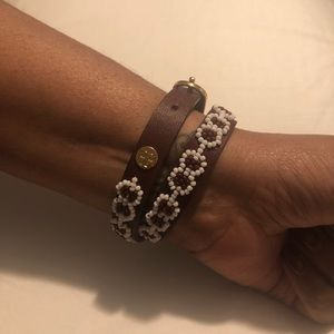Tory Burch Double Wrap Leather Bracelet